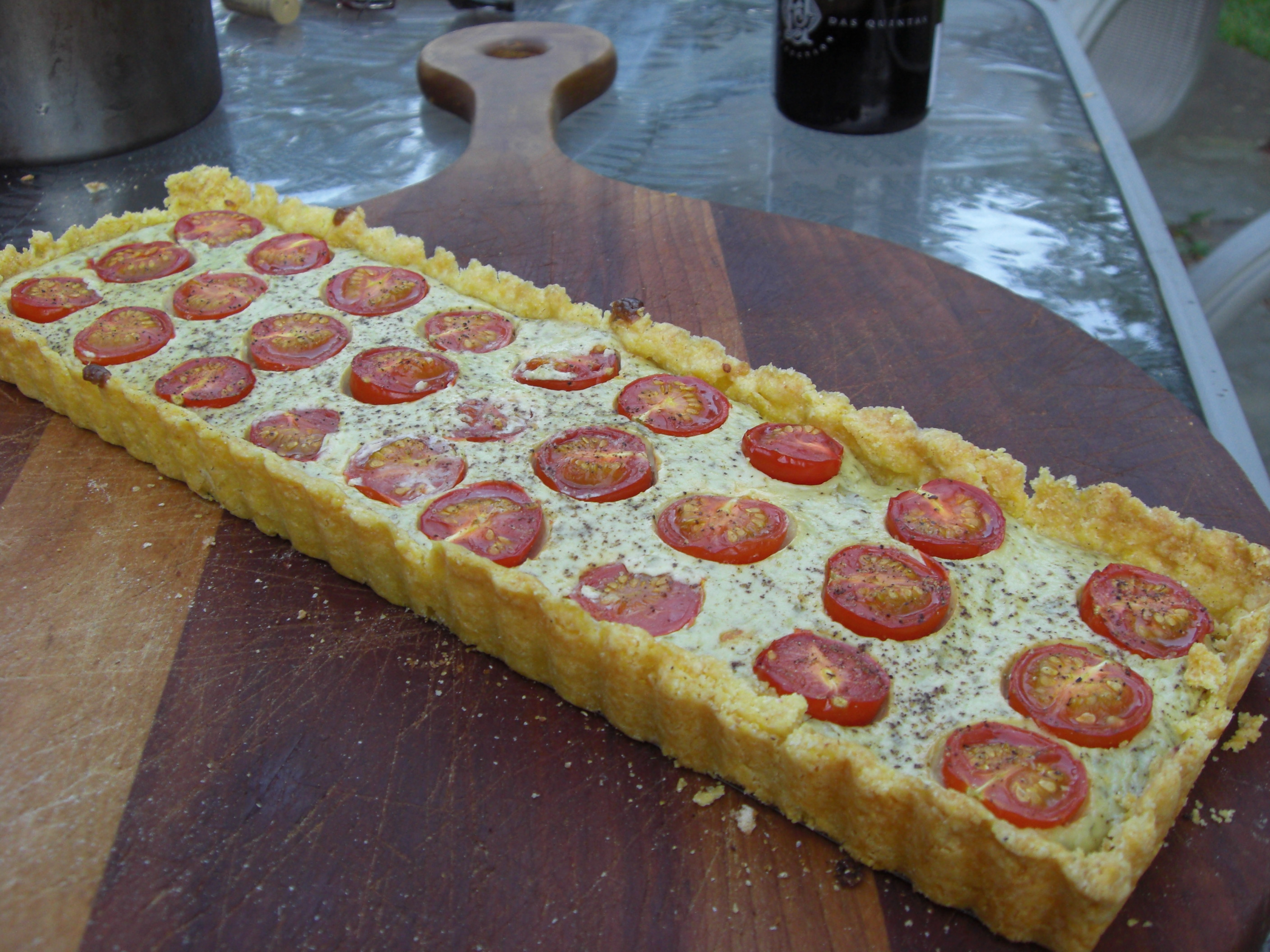 GOAT CHEESE AND TOMATO TART IN A CORNMEAL CRUST